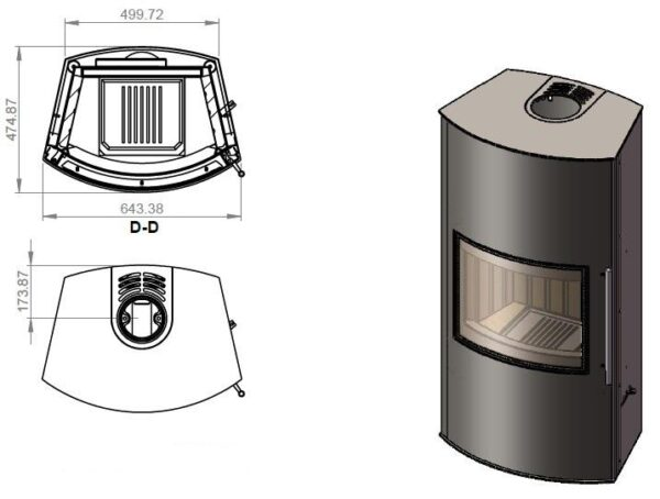 Дровяная печь EMBER Гордана 480 L black