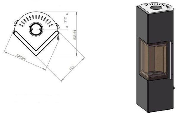 Дровяная печь EMBER Стеван 700 XL black
